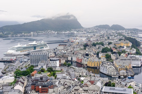 The city of Alesund where many tourist used to arrive in cruises. Charming and beautiful city in Norway